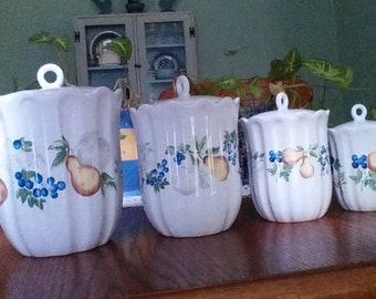 Beautiful, Corning Corelle Chutney, Full Canister Set, Flour, Sugar, Coffee, Tea, by Jay Imports