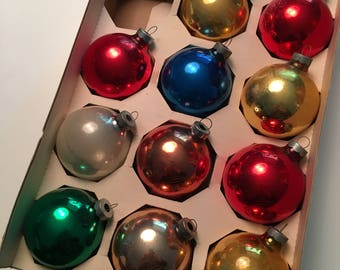 2 Boxes of Vintage Glass Ball Christmas Ornaments