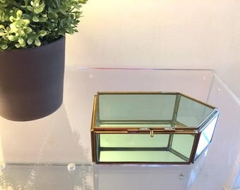 Vintage Brass Glass House or Arrow shaped Display Case Curio Trinket Box