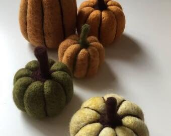 Orange and Brown Needle Felted Pumpkin