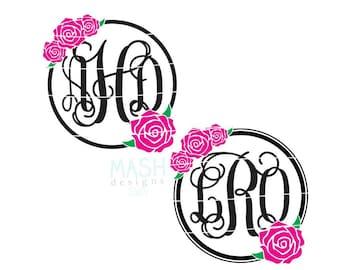 Rose Monogram Frame svg, rose svg, rose monogram svg, floral monogram svg, floral monogram circle svg, circle monogram svg, girly svg