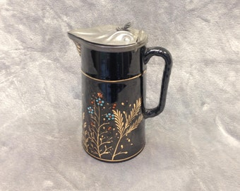 Handpainted Vintage Oriental Coffee Pot with art deco motif lid circa 1920s -30s.