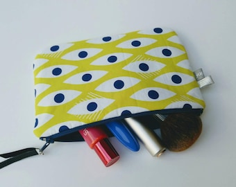Kit makeup pouch, pouch bag, leather, fabric, yellow, padded cover, bag accessory, women gift