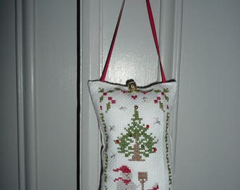 Decorative cushion for christmas, hanging door cushion,  handmade, crosstitch embroydery, christmas patterns