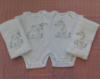 Embroidered Baby Girl Bodysuit and Burp Cloth Set Personalized