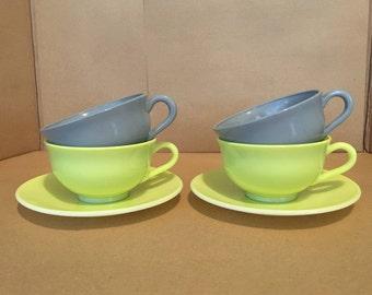 6 Piece Set - Vintage Hazel Atlas Ovide Cups & Saucers - Chartreuse and Gray - Milk Glass