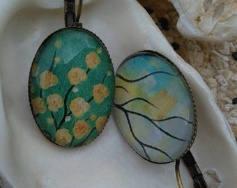 Earrings sleepers different trees