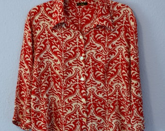 Loco Lindo Red and White print 100% Rayon Blouse Women's XL