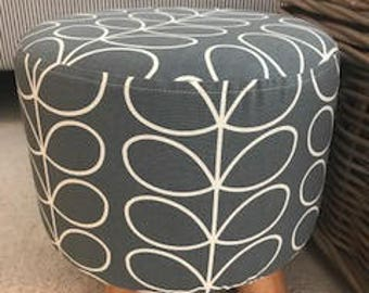 Orla Kiely Cool Grey Linear Stem Fabric Footstool