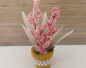 Miniature Potted Plant, Miniature Flower Arrangement, Dollhouse Miniatures, Pink Flowers, Home Decor, Handmade, OOAK