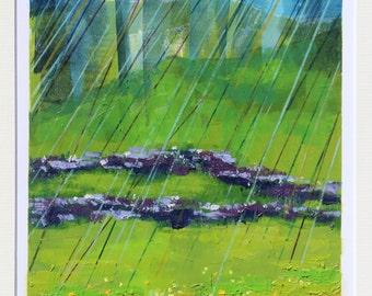Spring Rain. Original Linocut Limited Edition of 13 Linoprints.  Numbered-Signed-Mounted Landscape Rivington Lancashire