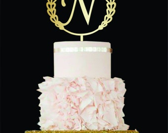 Letter N cake topper Wedding Cake Topper golden Initial Cake Topper gold monogram cake topper wood single letter cake topper Cake topper N