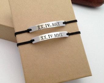 Römische Ziffer Armband Set, Datum Armband, Jubiläumsgeschenk, Freund,  Geschenk Für Freundin