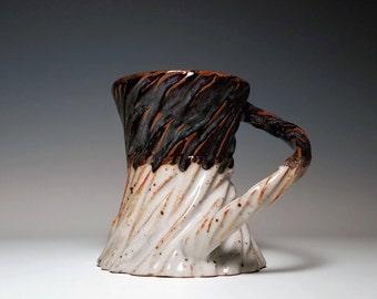 Carved Mug / Textured Mug / Unique Mug / Crackle Pottery / Wheel Thrown Mug / Handmade Pottery Mug