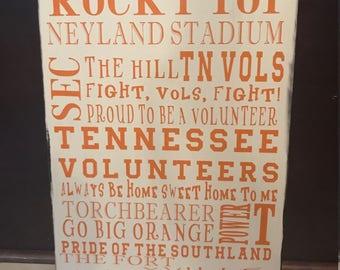 Tennesse Volunteers Wooden Sign