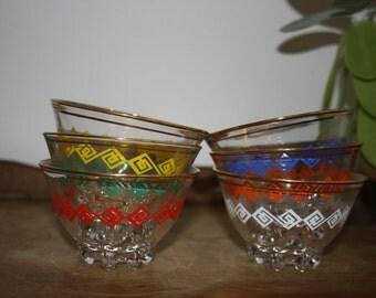 Vintage glasses/bowls, retro party, France 1970s