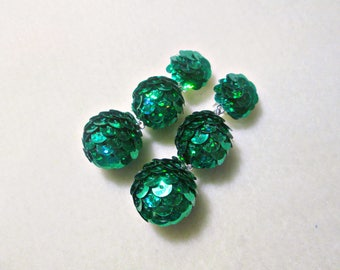 Peacock Grean Ball drop earrings/ Clip/Stud/ Light earrings-balls/ Triple balls/ Brilliant balls on the clip/ Bon Bon Earrings