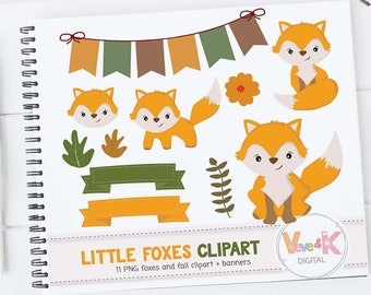 Fox Clip Art, Cute Fox Clipart, Little Foxes Clipart, Forest Creatures, Forest Critters, Woodland Animals Clipart, Foxes, Commercial use