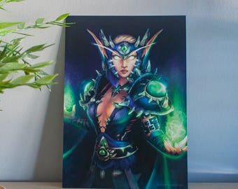 World of warcraft poster, warcraft elf illustration, elf poster, warcraft art print, video game art, custom gift, horde warcraft gift, wow