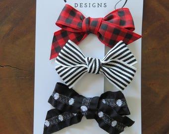 RED BLACK & WHITE Patterned Bow Set
