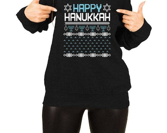 Ugly Holiday Sweater Hanukkah Gifts Ideas For Women Holiday Clothing Jewish Clothing Chanukah Menorah Dreidel Slouchy Sweatshirt TEP-381