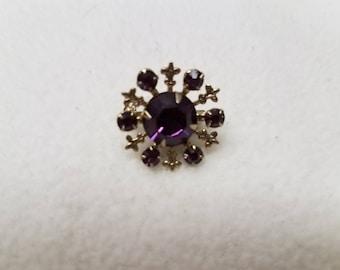Vintage Small Goldtone Purple Rhinestone Brooch