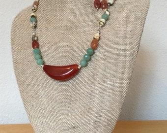 Genuine Cornelian Necklace & Earings (Jewelry Set)