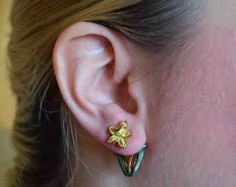 Daffodil Earrings / Daffodil Jewelry / Daffodil Ear Jacket / Valentine's Gift / Hand Painted Enamel Earrings