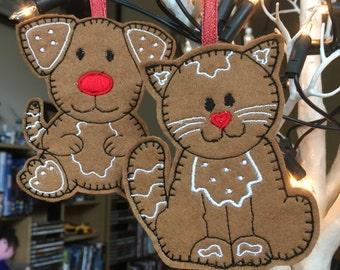 Felt Gingerbread Pets (pair)