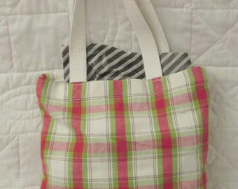 Small green/red/white plaid gift bag/tote perfect for books or Christmas gifts