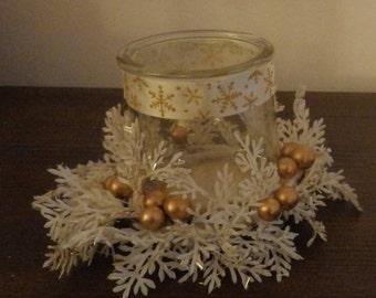 White & Gold Christmas votive candle holder, Christmas decorations, holiday decorations, glass candle holder, rustic Christmas decorations
