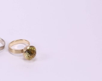 Ring Disco, Yellow Gold 14K, Lemon Quartz Gemstone, Yellow, Handmade, Solitaire Ring