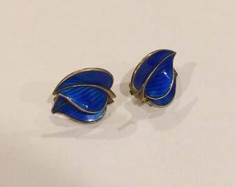 Vintage Enamel Clip On Earrings