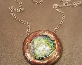 Copper necklace with green glass