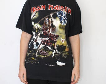 Vintage Iron Maiden T-shirt - Screen Stars - 1998 The Clansman - rare vintage 90s tshirt - band shirt hard rock heavy metal - size L Large