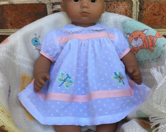 Little white dress handmade to fit such dolls as the 15 inch American Girl Bitty Baby and Bitty Twins.