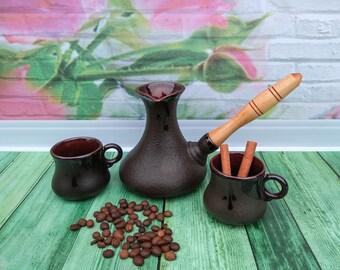 Pottery coffee set Turkish coffee set Ceramic coffee set Pottery coffee pot Pottery coffee maker Pottery coffee pot Turkish cezve