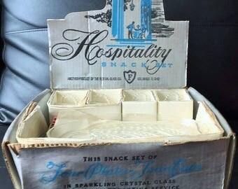 1950's Sparkling Crystal Snack Set