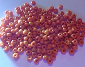200 orange Czech acrylic seed beads
