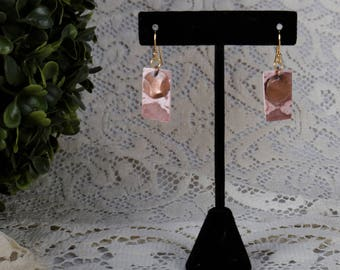 Lacework Earrings Handmade with Hammered Copper Pendant