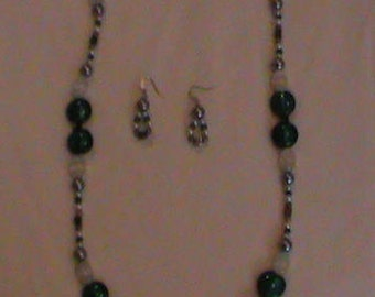 Green, white and silver necklace and earring set