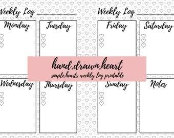 hand.drawn.heart - simple.hearts weekly log printable - A5