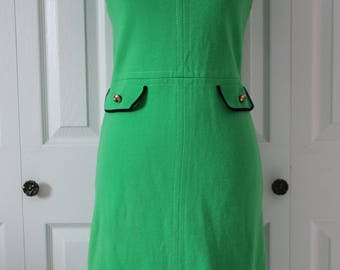 1960s Kelly Green Wiggle Dress Medium