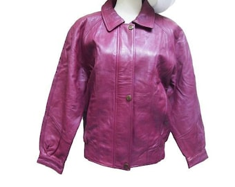 Fiber Street VINTAGE! rare classic 80s 90s beautiful color and details vintage leather jacket