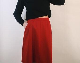 100% Merino Wool Red Skirt