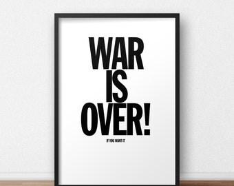 War is Over! Poster // John Lennon - Yoko Ono - The Beatles - Peace - Political - Civil Rights - Minimalist - Print - Music - Home Decor