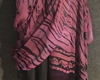 Hand Dyed Silk and Rayon Shawl or Long Scarf in Purples with Water Burn Out Pattern