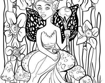 Adult Coloring Page Fairy Queen on Mushroom Vector Illustration Fantasy Illustration