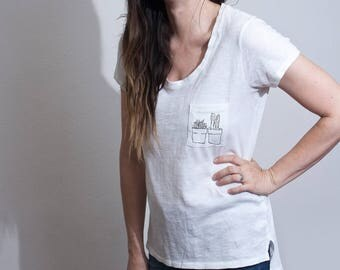 Cactus Pocket Graphic Tee • Women's Graphic Shirt • Hi-Lo Length Tshirts • Bohemian Boho Minimalist Shirts • Drawing Printed Top • Loft415