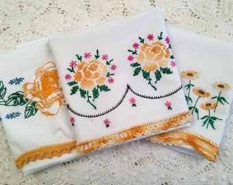 Vintage Embroidery Pillow Cases -Yellow Orange Crochet Edging, Roses Daisies Tube Cases - All Cotton - Set of Three - Farmhouse Linens